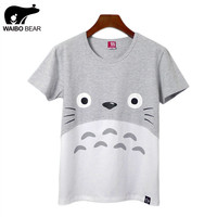 New Women Summer Casual Funny Harajuku Totoro Short T-Shirt Cartoon Print Basic Tee Shirts Fashion Kawaii Tops WAIBO BEAR