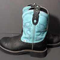Justin Gypsy Blue Leather Western Cowboy Cowgirl Boots Women's Size 8