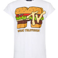 White Burger MTV Hi Roll Crew Neck T-shirt - Men's T-shirts & Vests - Clothing - TOPMAN