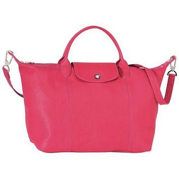 New LONGCHAMP Le Pliage CUIR Medium Tote Leather Satchel Bag Pink
