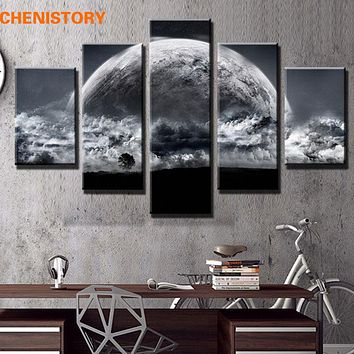 Unframed 5 Panel Grey Sky Space Universe Landscape Painting On Canvas Cuadros Modern Earth Wall Art Picture For Room Decoration