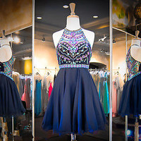 Beaded Homecoming Cocktail Graduation Dress Short Pageant Party Formal Prom Gown