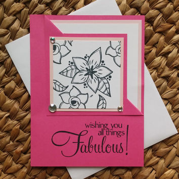Birthday Card - Colorful Birthday Wishes - Wishing You All Things Fabulous - Gifts for Her