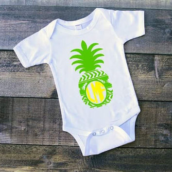 SALE Monogram pineapple, pattern monogram, infant monogram clothing, monogram, pineapple, names, custom clothing, gender reveal, new baby, m