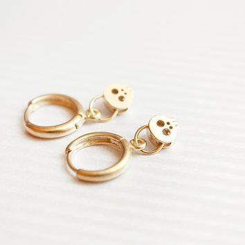 tiny gold skull earrings - gold skull jewelry