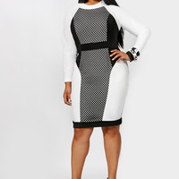Plus Size Color Block PrintedLong Sleeves Bodycon Midi Dress