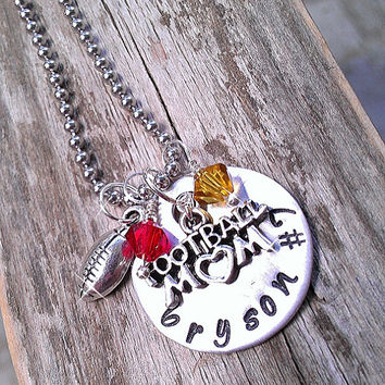 Hand Stamped Personalized Necklace with Name and Jersey Number, Hanging Sports Mom Charm and Crystal Beads School Colors