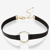 hammered circle and leather choker necklace