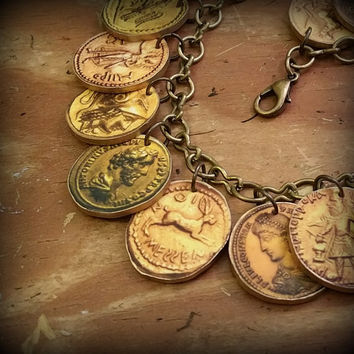 Antique Coin Jewelry - Treasure - Fake Money - Ancient Coins - Fake Gold - Ancient Roman Greek Coins - Charm Bracelet - Coin Charm Bracelet