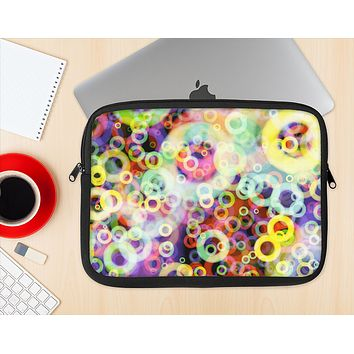 The Rainbow Colored Unfocused Light Circles Ink-Fuzed NeoPrene MacBook Laptop Sleeve