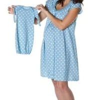 Baby Be Mine Maternity / Nursing Nightgown with Matching Baby Romper and Hat