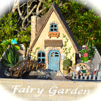 Fairy Garden Cottage Kit ~ Walkway ~ Pond with Bridge ~ Fence ~ Bench ~ Rose Trellis ~ Faux Plants, Fairy, or lights options at checkout