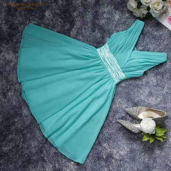 Short Cocktail Dresses Double Shoulders V-neck Chiffon Summer Style Party Dress