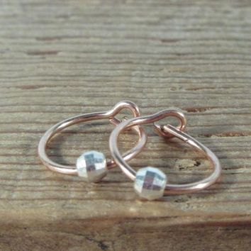 Small Hoop Earrings Pink Gold with Silver Mirror Cut