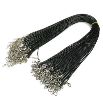 [13158] 20 Pieces Black Braided Imitation Leather Cord Rope Necklace Chain with Lobster Claw Clasp