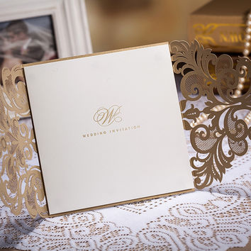 Lace Design Laser Cut Wedding Invitations 12pcs/lot