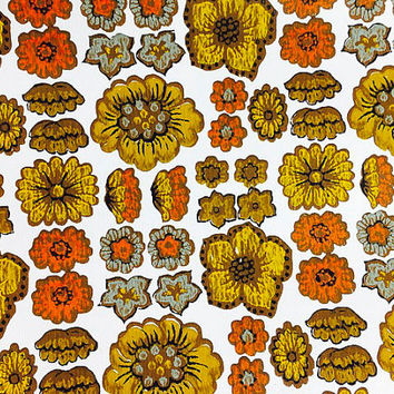 Vintage Wallpaper Roll Brown Flower Floral Pattern 1960 1970 Kitsch Mid Century Kitschy Kitchen Decor Crafts Scrapbooking Ephemera Supply