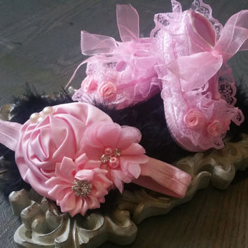 Pink Ballerina Baby Shoes, light pink Baby Shoes,Christening baby shoes, baby girl crib shoes, Wedding, Light Pink Headband,Ready to ship