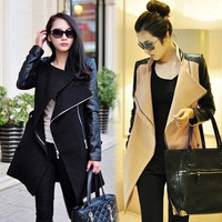 2014 Autumn winter jackets women ladies coat zipper stitching Slim woolen coat long coat female = 1930088836