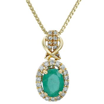 10K Gold Green Emerald and 1/7 ct. TDW Diamond Oval Pendant