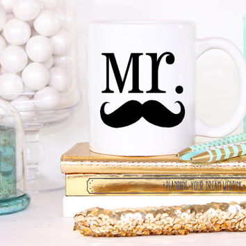 Mr. Hipster Mustache Stash Custom Mug- Wedding Groom To Be Engagement Gift