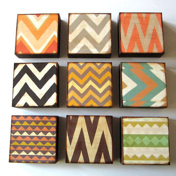 Art Block 5x5 Nine 9 Set Chevrons Triangles Zig by redtilestudio