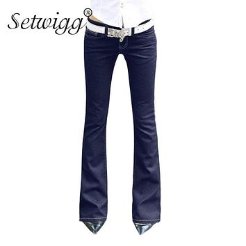 SETWIGG Womens Blue Denim Stretch Flare Jeans Low Waisted Bell Skinny Spandex Jean Trousers Woman Denim Pants For Slim Hip Women