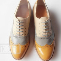 Pale Brown Grey Gray Cream Vintage Inspired Fashion Handmade Handcrafted High Heels Leather Wing Tip