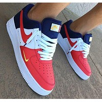 Nike Air Force 1 Trending Women Men Personality Low Help Mini Swoosh USA Sport Shoe Sneakers I