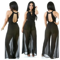 Black Sheer Mesh Cut-Out Backless Jumpsuit