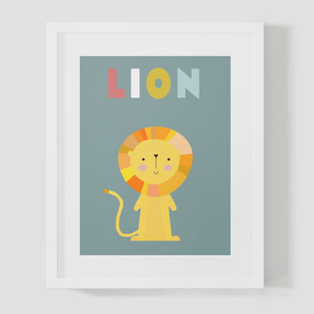 Colorful Learning Lion Animal Safari Wall Art 8x10 16x20 Typography Poster Print