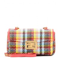 fendi - mini be baguette woven leather shoulder bag