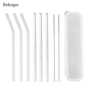 Behogar Reusable 3pcs Clear Straight Drinking Glass Straws+3pcs Bent Straws +2pcs Cleaning Brush+Storage Box for Bevarage Coffee