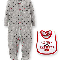 Carter's Newborn-9 Months Valentine's Footed-Coverall & Bib Set - Grey
