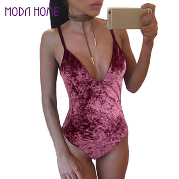 2017 Club Velvet Jumpsuit Top Skinny V Neck Bodysuit Women Sleeveless Backless Catsuit Sexy Shorts Rompers Hot One Piece Outfits