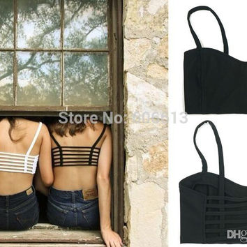 Women Sexy Padded Bra Crop Tops Sport Straped Bralette Cage Tank Tops 6pcs/lot Free shipping