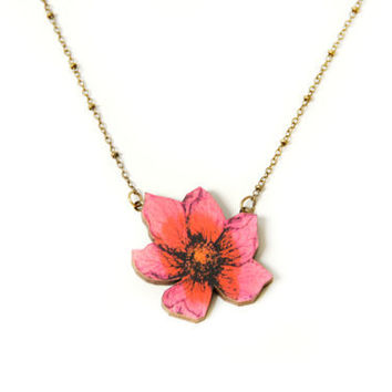 Flower necklace - Hot Pink necklace - Laser cut wood flower - flower jewelry - spring flowers