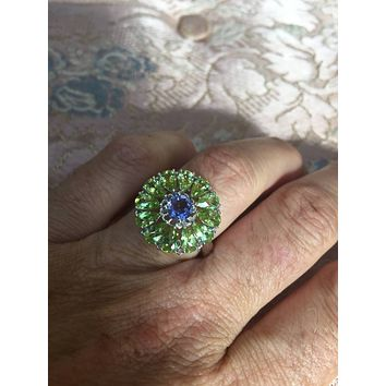 Vintage Handmade Genuine Green Peridot and Blue Iolite Setting 925 Sterling Silver Gothic Ring