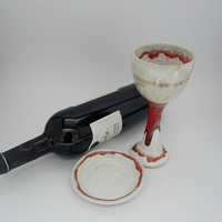 Wine Goblet, Kiddush Cup Pottery Wine Cup, Ceramic Chalice, Red and White Stoneware