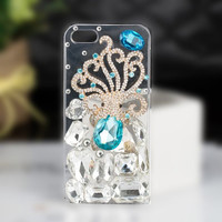 Luxury Blue Diamond Saphire Eye Octopus Bling Rhinestone Cases for iPhone