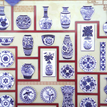 Beautiful Chinese porcelain paper stickers - blue and white bone china - vases and tea sets - plates and bowls - cups and borders
