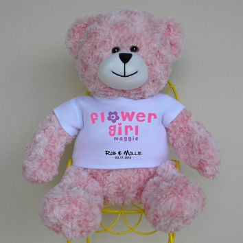 """Flower Girl Gift, 16"""" Personalized Bear with color matched ribbon - wedding party maid of honor bridesmaid flower girl ring bearer gift"""