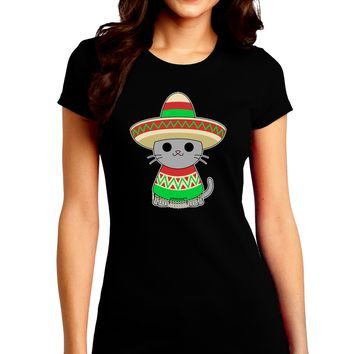 Cat with Sombrero and Poncho Juniors Crew Dark T-Shirt by TooLoud