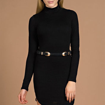 Luxe Mock Neck Bodycon Dress
