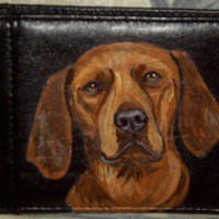 Coonhound Dog Custom Painted Leather Men's Wallet Gifts for Men