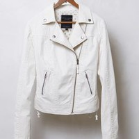 Sanctuary Denim Moto Jacket in Ivory Size: M Jackets