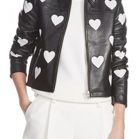 maje Heart Inset Leather Jacket | Nordstrom