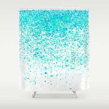 sparkling mint Shower Curtain by Marianna Tankelevich