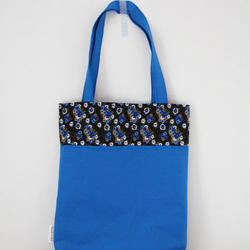Tote bag: blue, flowers, brown, white, yellow