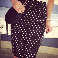 Polka Dot Printed High Waist Skirt